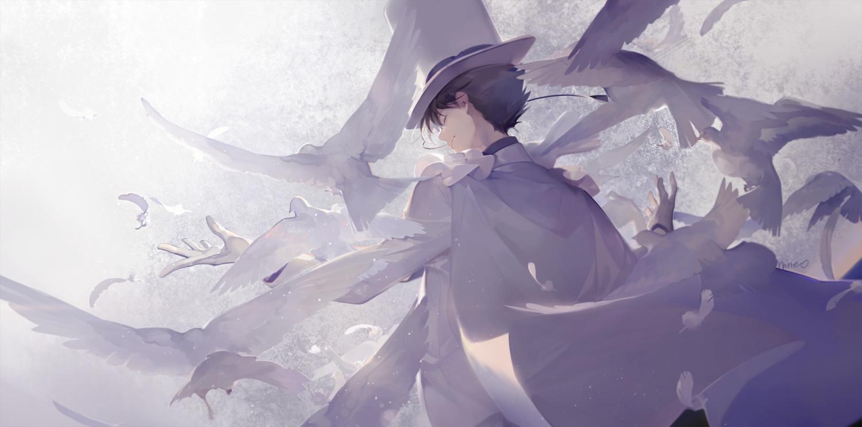 all_male animal bird black_hair gloves hat kaitou_kid magic_kaito male nineo polychromatic short_hair signed