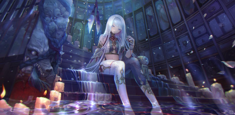 long_hair original sakumamitsuro stairs water white_hair
