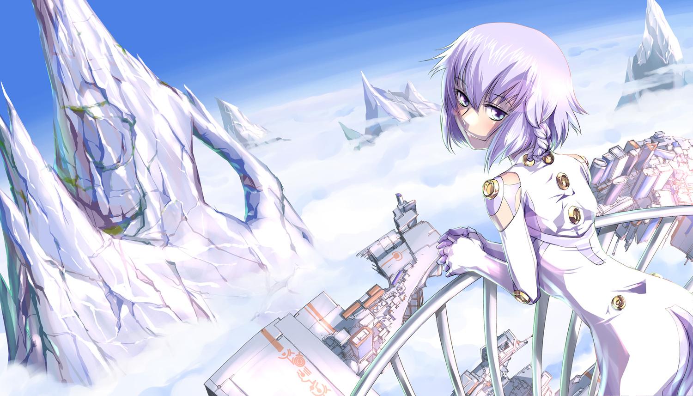 ar_tonelico ar_tonelico_iii blush bodysuit clouds kamotama purple_eyes purple_hair short_hair skintight sky tilia