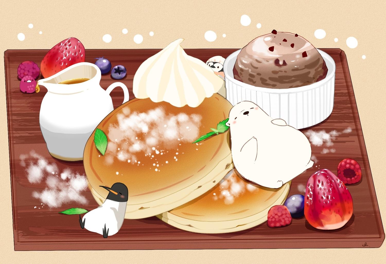 animal bear bird cake chai_(artist) food fruit ice_cream original penguin signed strawberry