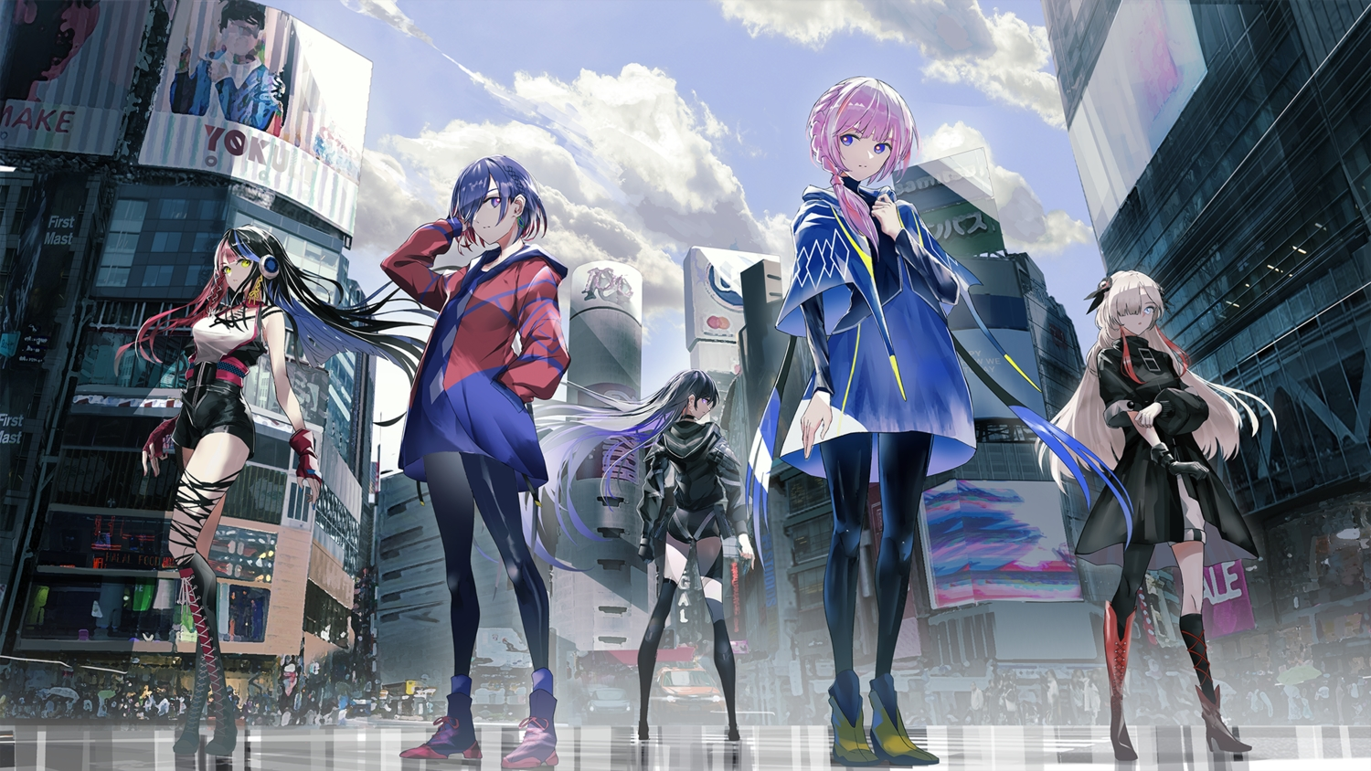 black_hair blue_hair boots building city clouds gloves group harusaruhi headphones isekai_joucho kaf kamitsubaki_studio koko_(vtuber) long_hair ponytail purple_eyes purple_hair rim_(vtuber) sky swav thighhighs virtual_kaf