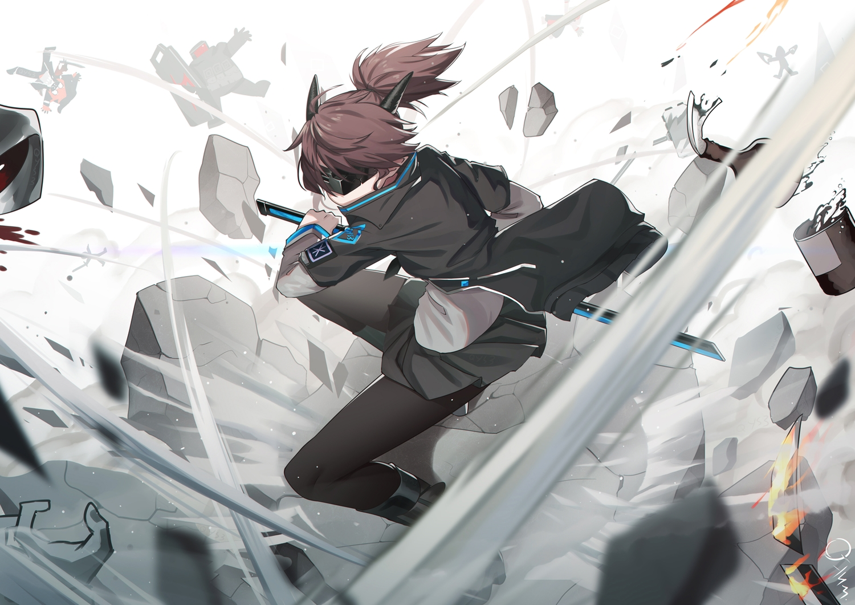 arknights bai_yemeng blindfold brown_hair katana mask pantyhose ponytail robot signed skirt sword weapon yato_(arknights)