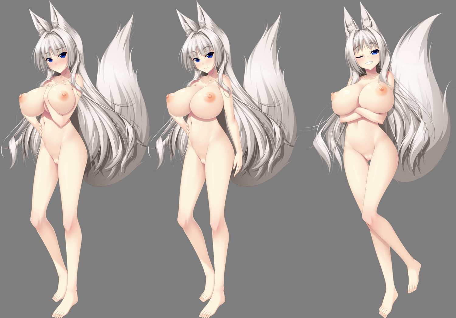 animal_ears barefoot blue_eyes blush breast_hold breasts foxgirl gray_hair long_hair navel nipples nude tagme_(artist) tagme_(character) tail transparent wink