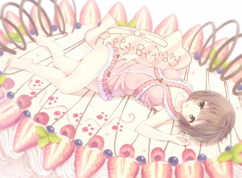 alc_(ex2_lv) barefoot brown_hair cake food fruit green_eyes idolmaster idolmaster_cinderella_girls maekawa_miku short_hair strawberry