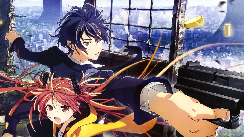 aihara_enju black_bullet black_hair boots cropped gun male satomi_rentarou twintails umishima_senbon weapon