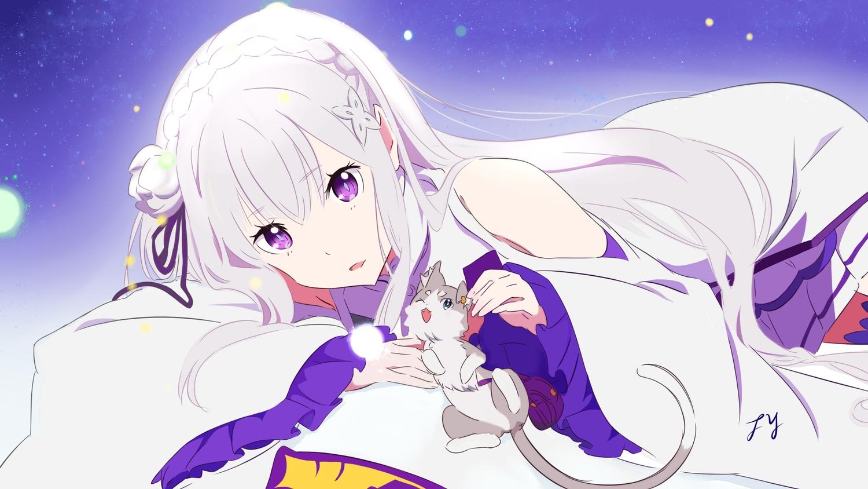 animal cat dress emilia_(re:zero) long_hair puck purple_eyes re:zero_kara_hajimeru_isekai_seikatsu signed tagme_(artist) white_hair