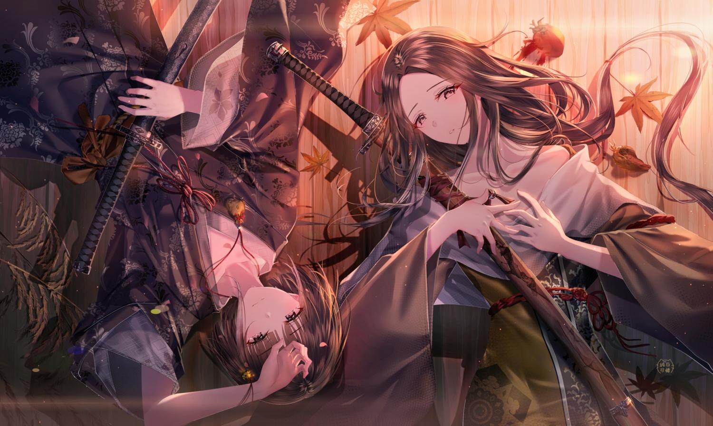 autumn black_hair brown_hair divine_child_of_rejuvenation junpaku_karen katana kuro_the_divine_heir leaves long_hair male sekiro:_shadows_die_twice sword weapon