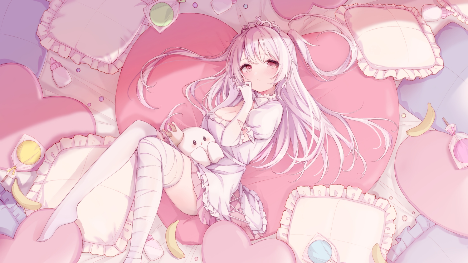 bandage breasts candy cleavage dress elbow_gloves food fruit gloves ice_cream_mad_labo lollipop long_hair madoromi_more pink_eyes ramunezake thighhighs tiara twintails white_hair