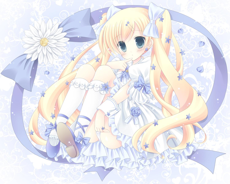 blonde_hair blush cordelia_glauca kouta. panties petals tantei_opera_milky_holmes twintails underwear