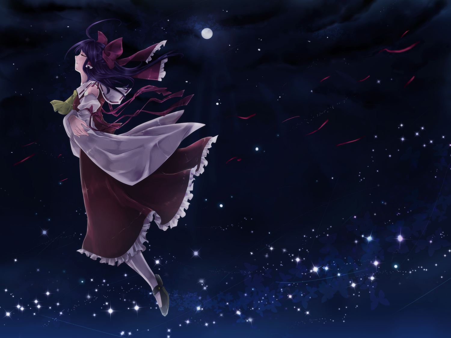bow hakurei_reimu japanese_clothes kubikirisaikuru5525 moon night sky stars touhou