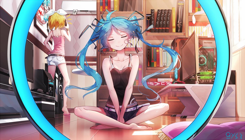 2girls aqua_hair bai_yemeng barefoot blonde_hair book computer game_console hatsune_miku kagamine_rin long_hair phone short_hair shorts signed twintails vocaloid