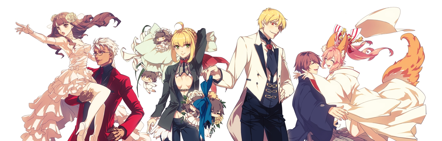animal_ears archer blonde_hair bow breasts brown_eyes brown_hair chibi cleavage dress fate/extra fate_(series) fate/stay_night flowers gilgamesh glasses green_eyes japanese_clothes kin_mokusei kishinami_hakuno male nero_claudius_(fate) pink_hair red_eyes tail tamamo_no_mae_(fate) tie wedding_attire white_hair