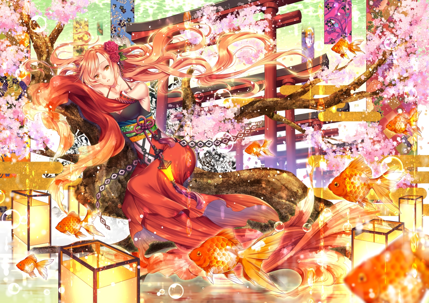 aliasing animal blonde_hair brown_eyes bubbles cherry_blossoms fish flowers japanese_clothes kirisita long_hair original torii tree underwater water