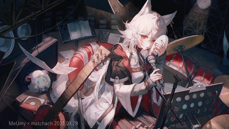 animal_ears guitar instrument long_hair maccha_(mochancc) mask meumy microphone umy_(meumy) watermark white_hair wolfgirl