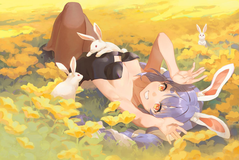 animal animal_ears blue_hair blush braids bunny_ears bunnygirl flowers gawain_(artist) hololive long_hair no_bra orange_eyes rabbit twintails usada_pekora