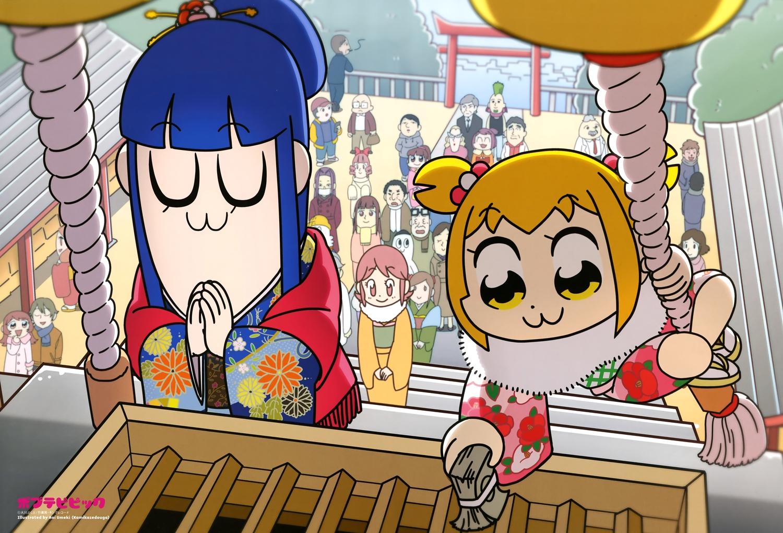 blonde_hair blue_hair japanese_clothes kimono long_hair pipimi pop_team_epic popuko scan shrine umeki_aoi