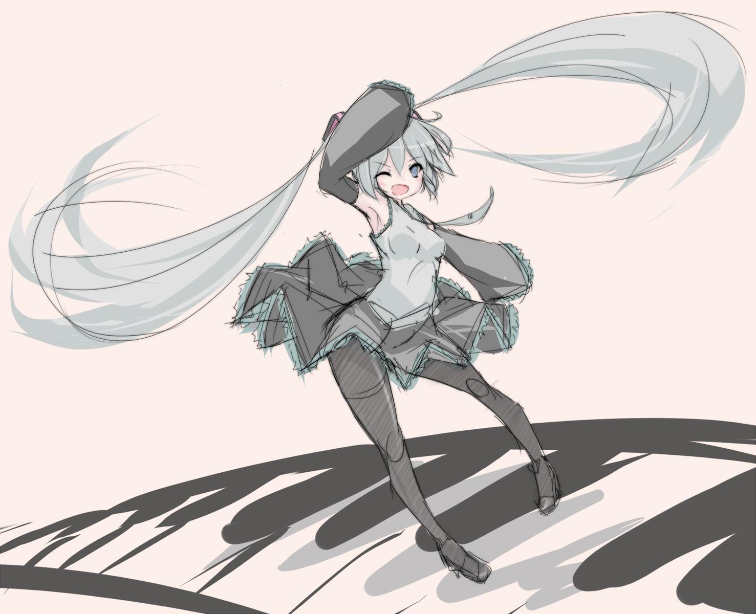hatsune_miku instrument mic_(folgore) pantyhose piano sketch twintails vocaloid wink
