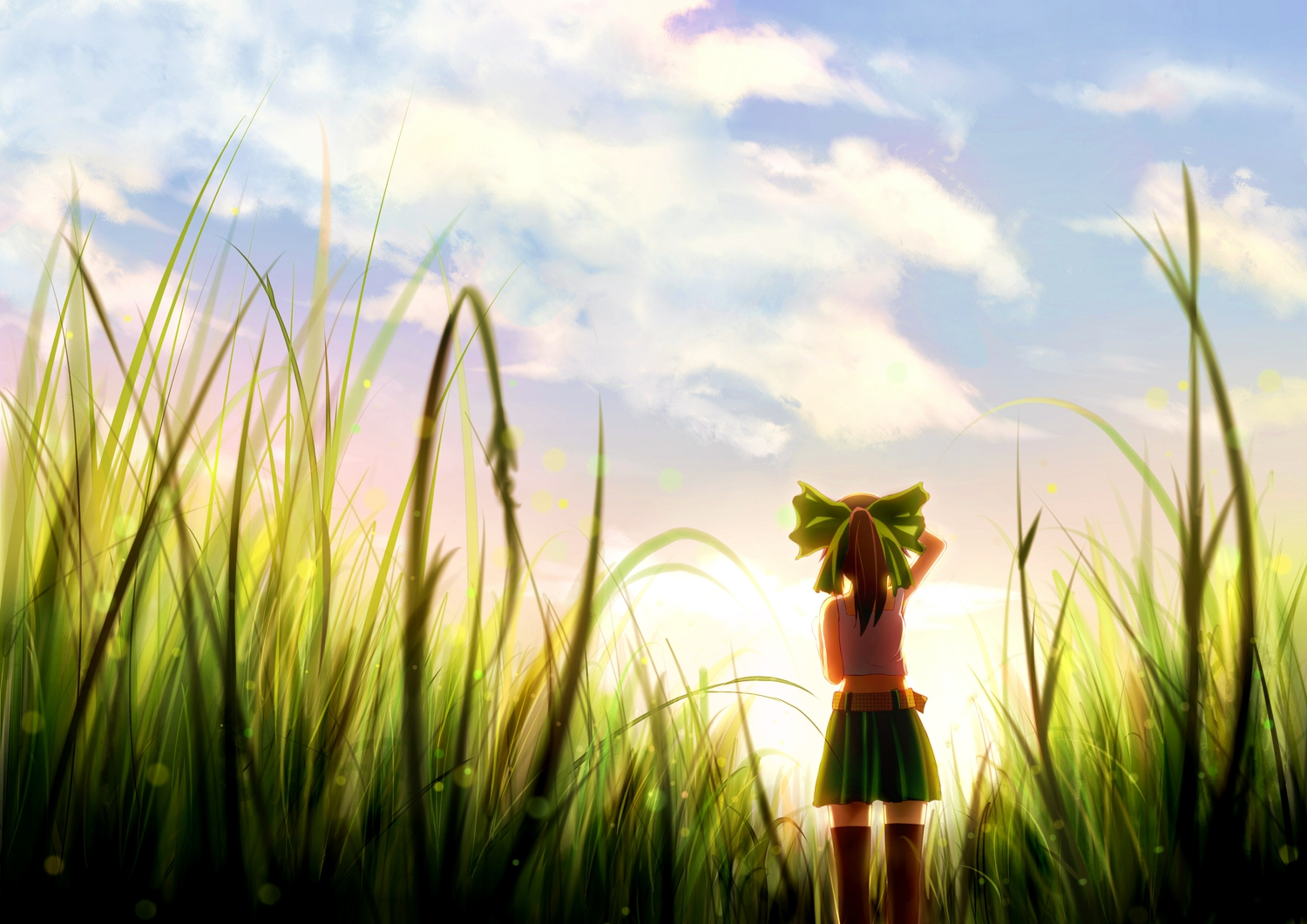 boots bow brown_hair clouds grass moe_m ponytail reiuji_utsuho scenic skirt sky sunset thighhighs touhou zettai_ryouiki