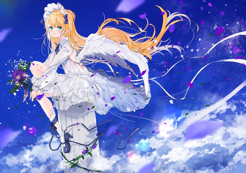 blonde_hair clouds dress flowers headdress lolita_fashion long_hair original pointed_ears sky umi_no_mizu wings