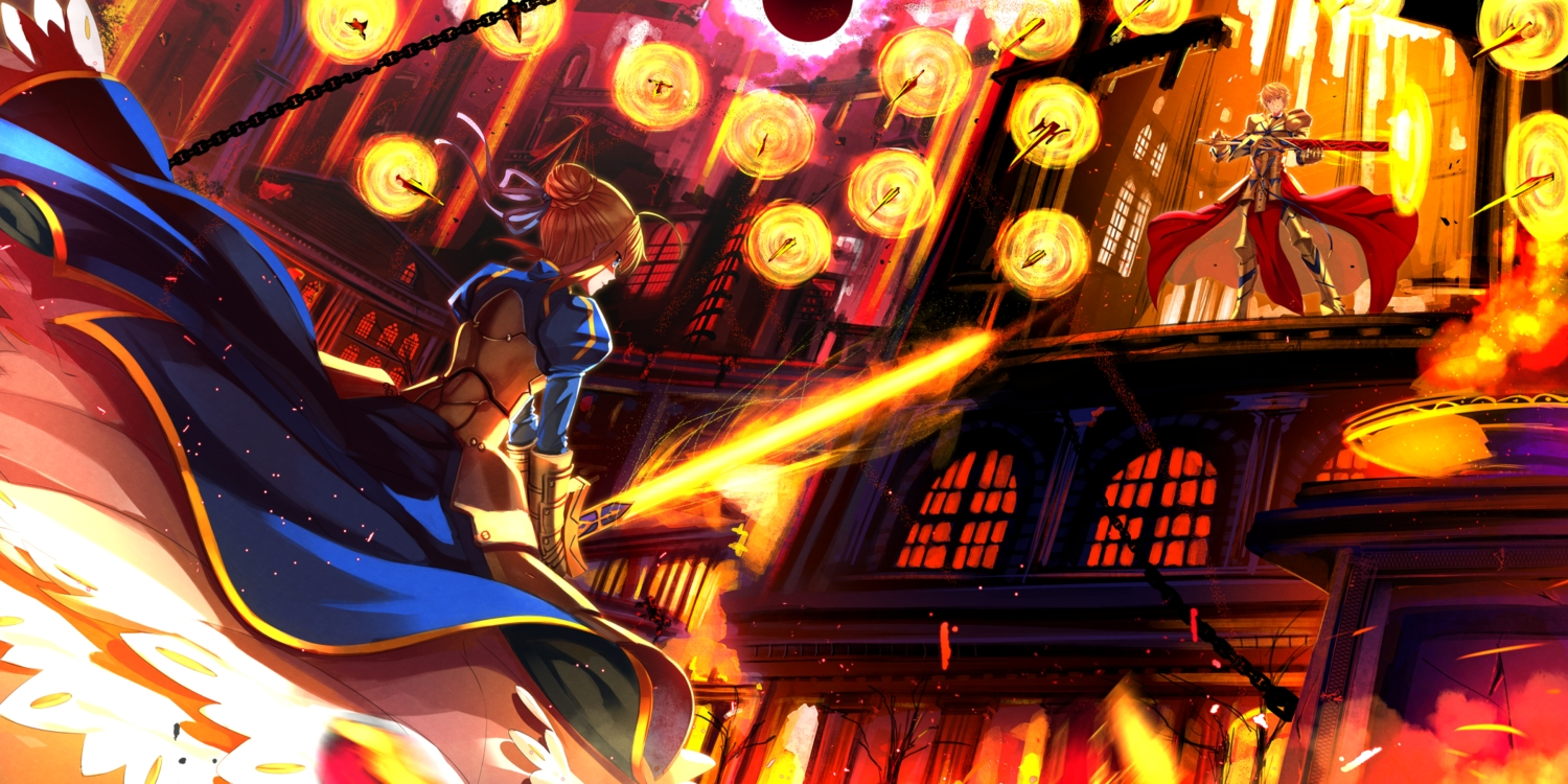 armor artoria_pendragon_(all) blonde_hair blue_eyes cape chain fate_(series) fate/stay_night fire gilgamesh gloves male saber spear sword swordsouls weapon