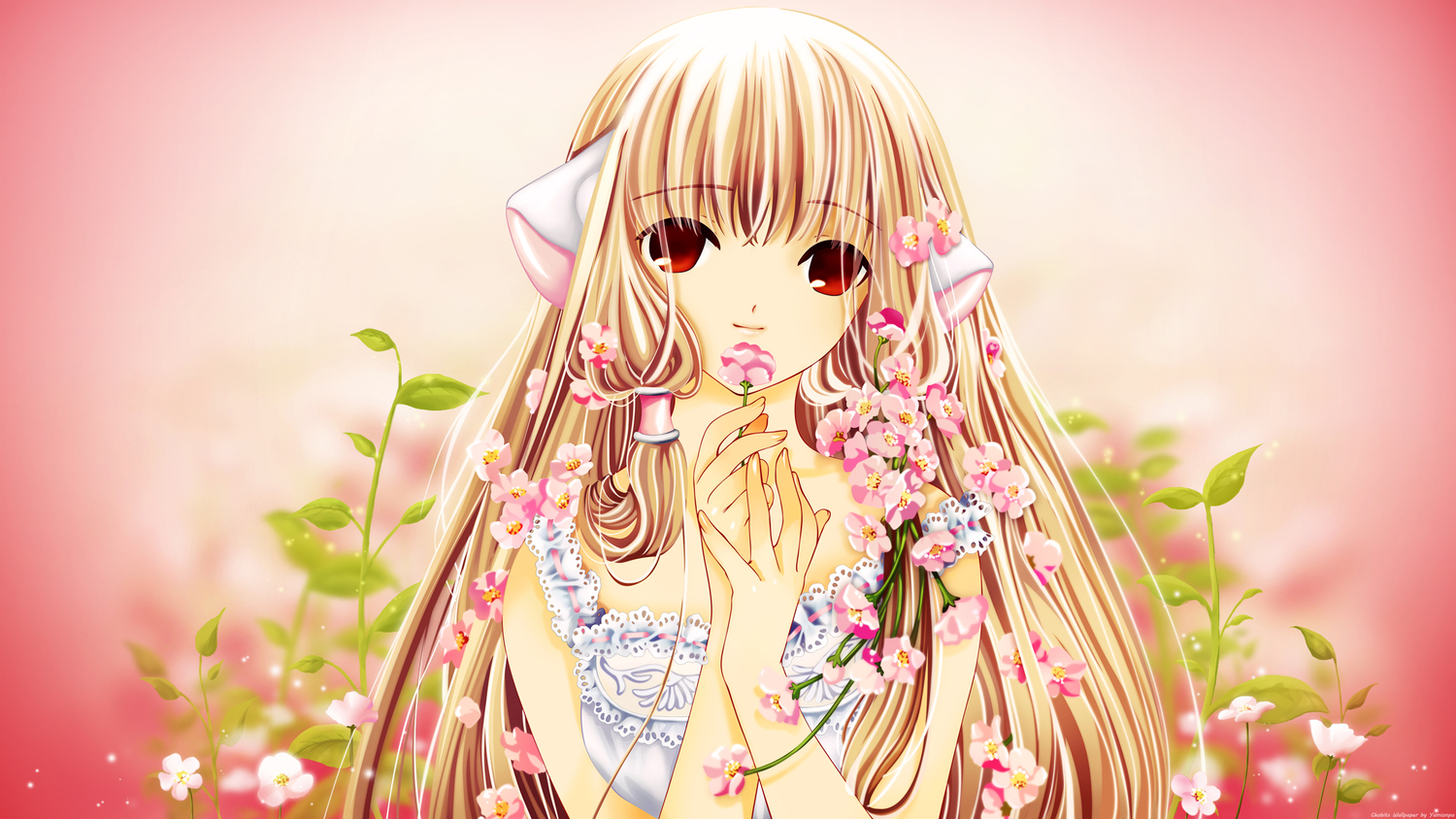 chii chobits flowers red_eyes third-party_edit