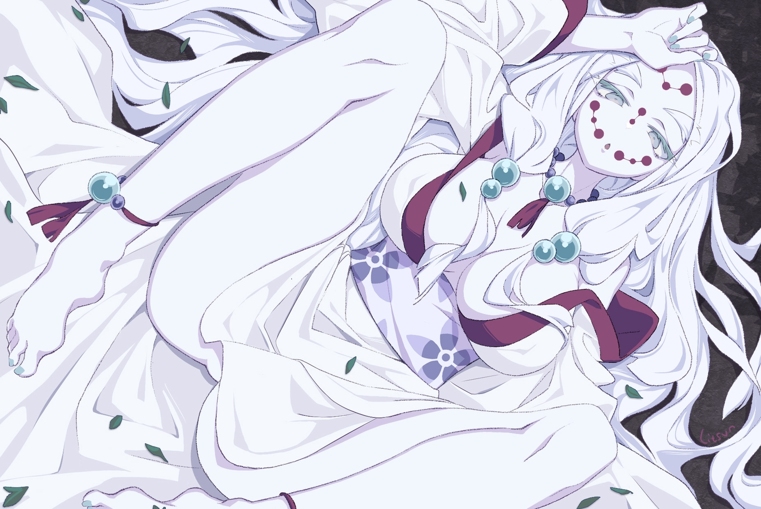 barefoot breasts erect_nipples gray_eyes japanese_clothes jpeg_artifacts kimetsu_no_yaiba leaves litsvn long_hair mother_spider_demon_(kimetsu_no_yaiba) petals signed spread_legs white_hair