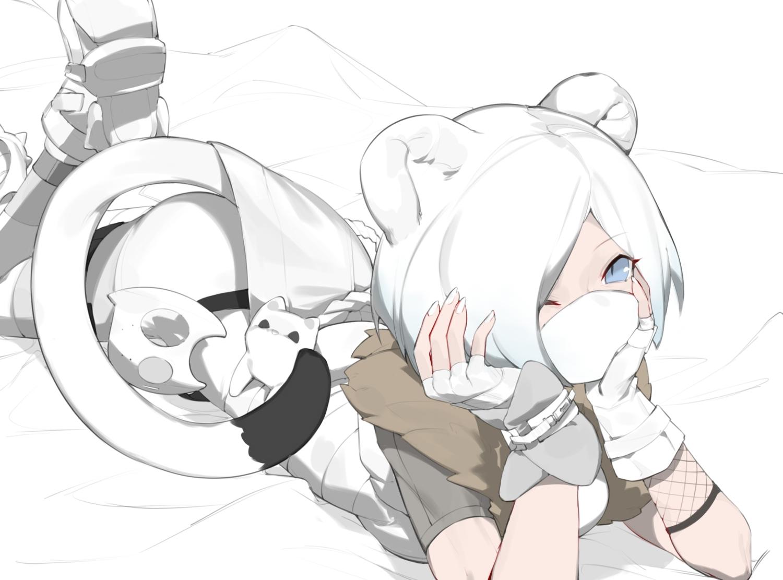animal_ears arknights blue_eyes fui_(fui29493452) gloves mask ninja polychromatic shirayuki_(arknights) short_hair tail white_hair wink