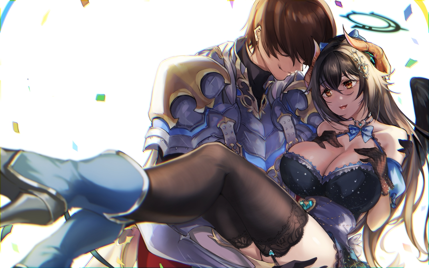 breast_hold breasts cleavage dress eichi halo long_hair male prince_(sennen_sensou_aigis) sennen_sensou_aigis short_hair sophie_(sennen_sensou_aigis) stockings wings