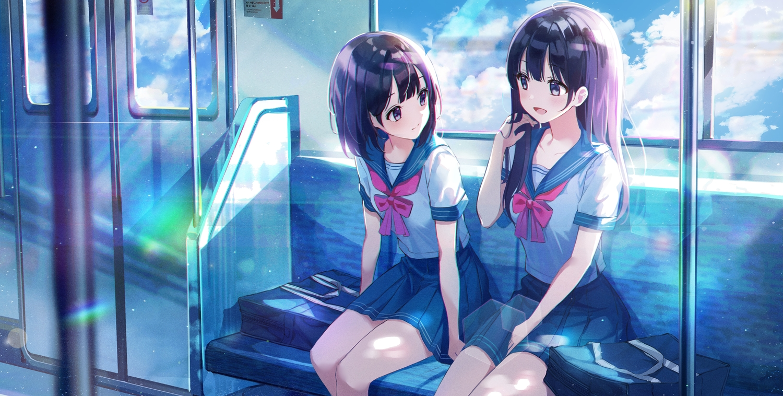2girls clouds eumi_114 long_hair original purple_hair school_uniform short_hair skirt sky water