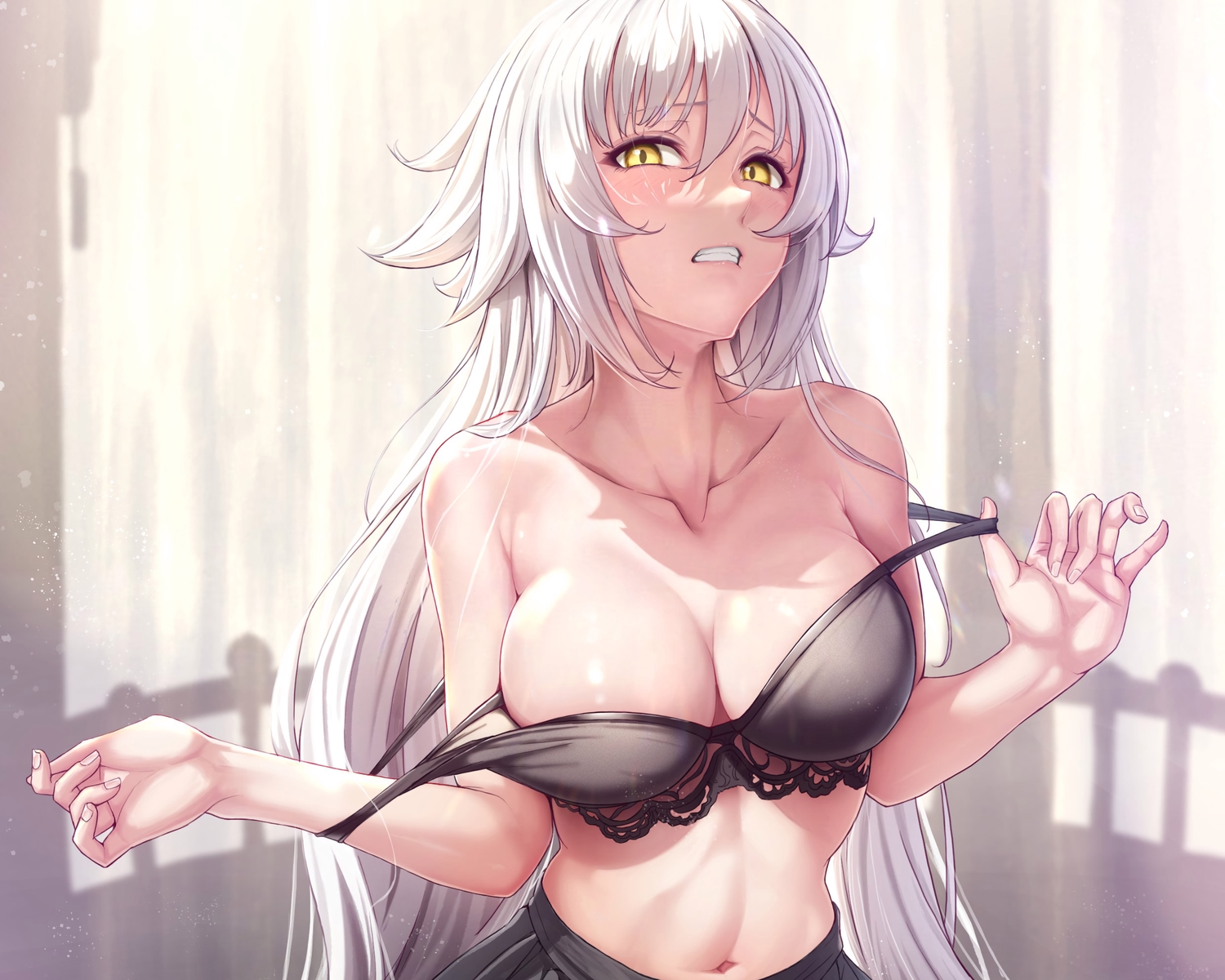 bra breasts cleavage cropped fate/grand_order fate_(series) happymonk jeanne_d'arc_(fate) long_hair underwear white_hair yellow_eyes