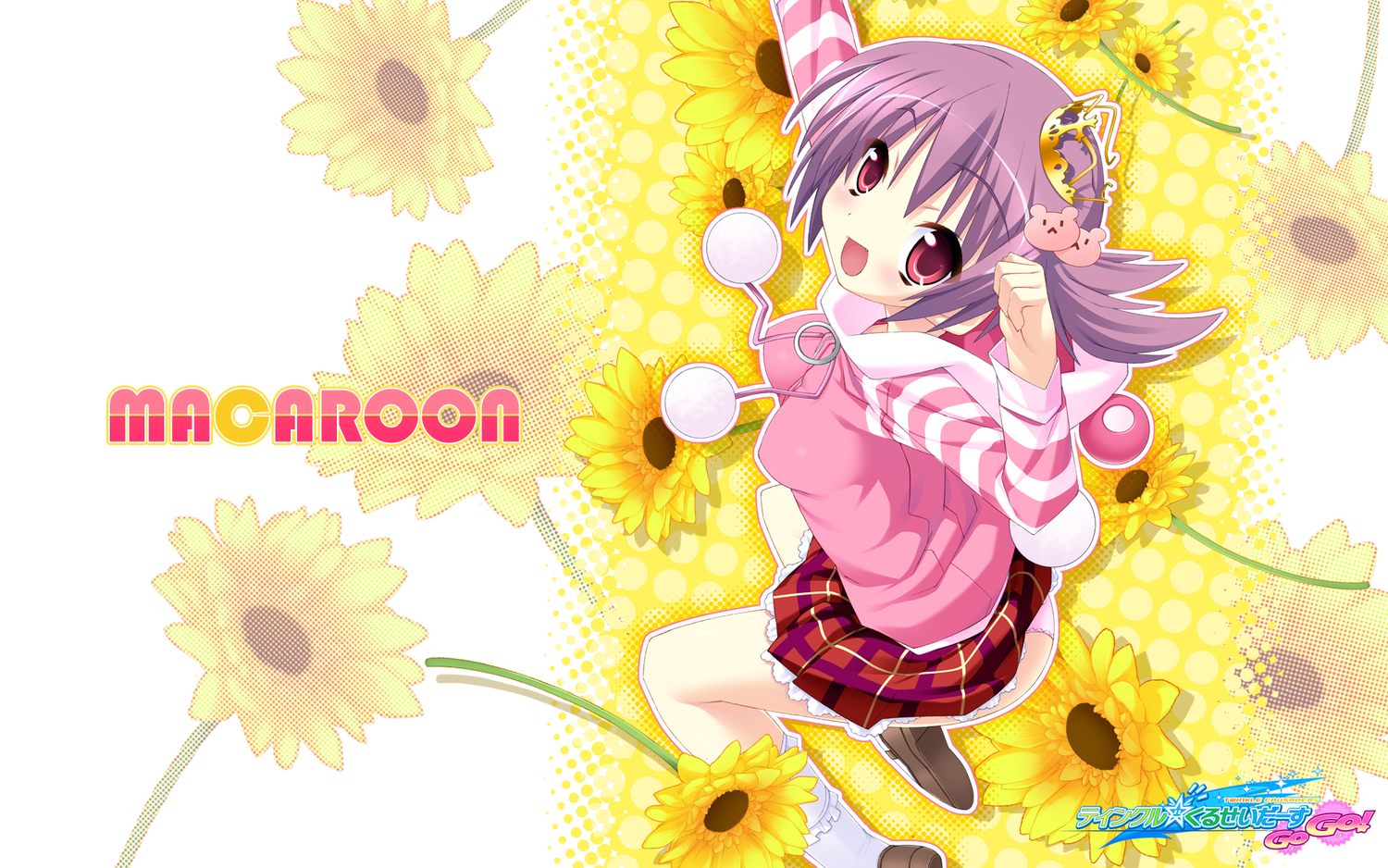 flowers kannagi_rei macaron panties purple_hair twinkle_crusaders underwear
