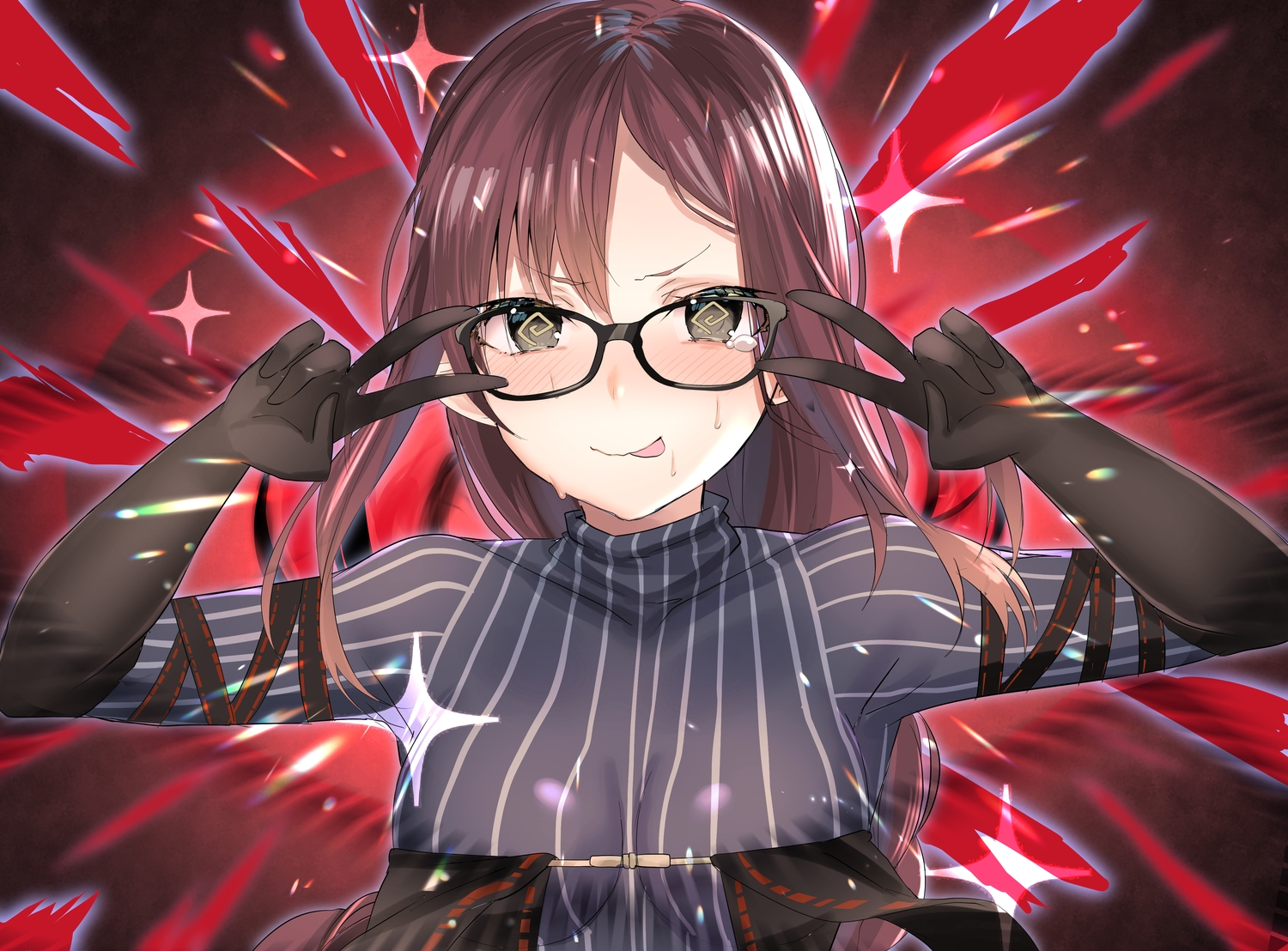 blush breasts brown_eyes brown_hair consort_yu_(fate) fate/grand_order fate_(series) fou_(ssqseeker) glasses long_hair parody skintight