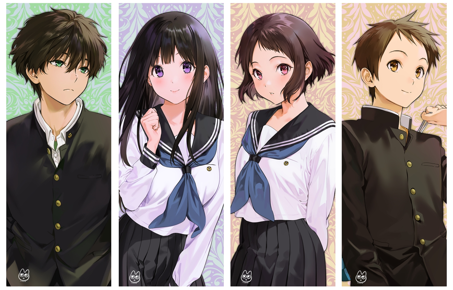 black_hair blush brown_hair chitanda_eru fukube_satoshi green_eyes group hyouka ibara_mayaka long_hair male mery_(apfl0515) oreki_houtarou pink_eyes purple_eyes school_uniform short_hair signed skirt yellow_eyes