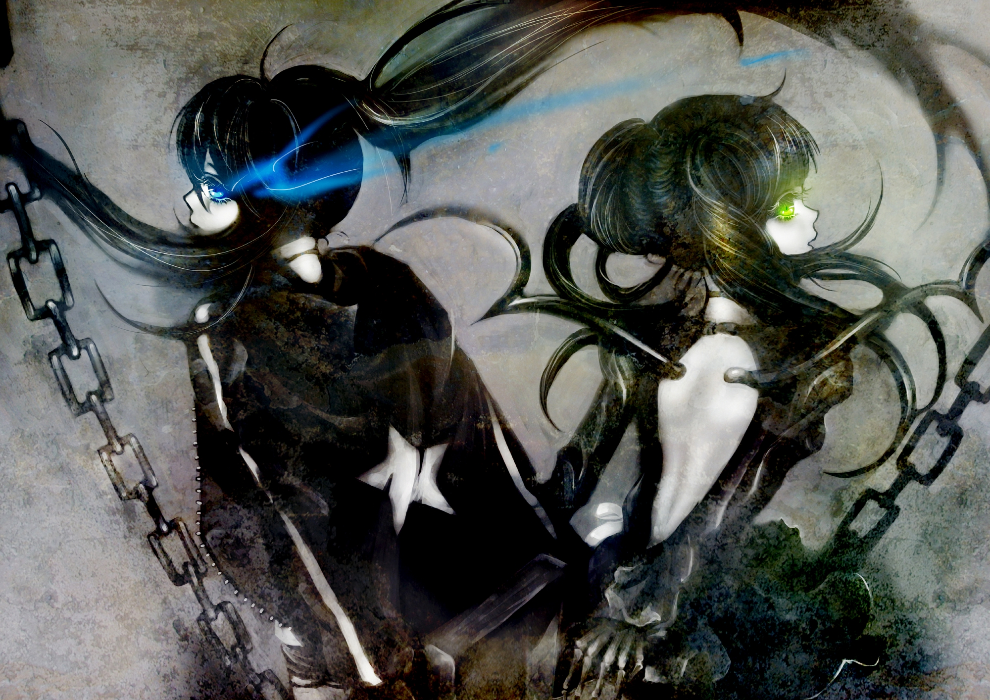 black_rock_shooter chain kuroi_mato takanashi_yomi wings