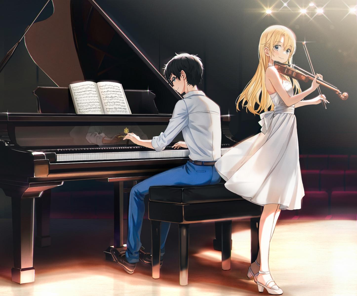 aliasing arima_kousei blonde_hair cropped instrument long_hair male miyazono_kaori piano popuru reflection shigatsu_wa_kimi_no_uso