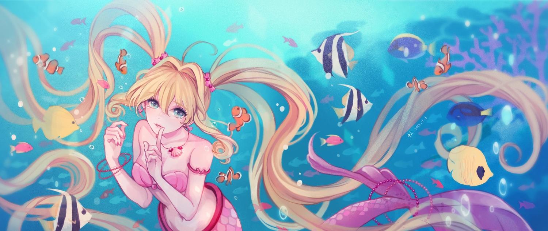+1_(yakusoku0722) animal aqua_eyes blonde_hair fish long_hair mermaid mermaid_melody_pichi_pichi_pitch nanami_lucia signed tail twintails underwater water wristwear