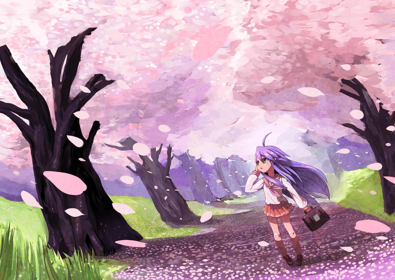 azuse_neko blue_hair cherry_blossoms flowers grass izumi_konata lucky_star petals school_uniform spring tree