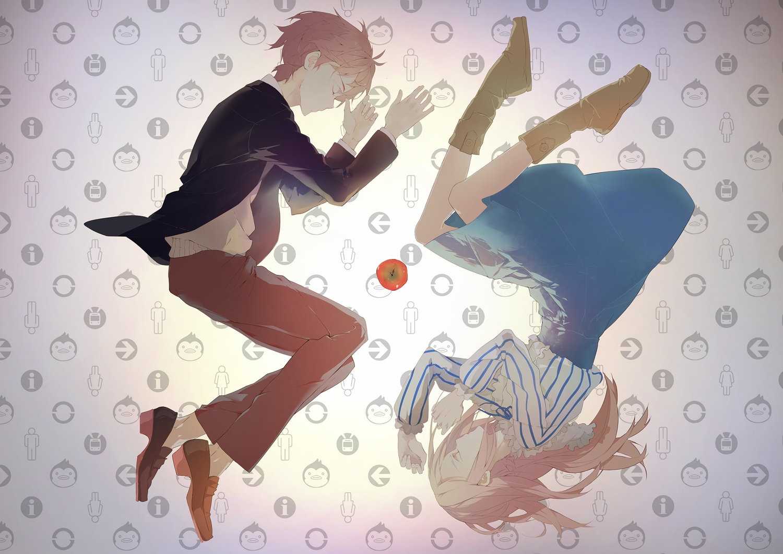 apple brown_hair dc_(12696462) food fruit gradient long_hair male mawaru_penguindrum red_hair takakura_himari takakura_kanba