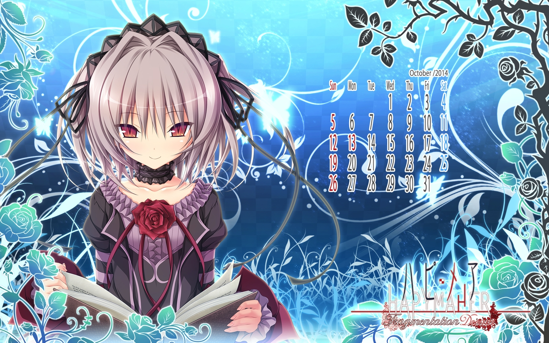 calendar gray_hair hapymaher koku lolita_fashion naitou_maia purple_software