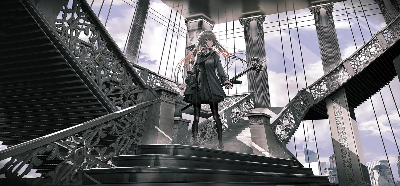 dress gray_hair gun long_hair original staff stairs swav weapon