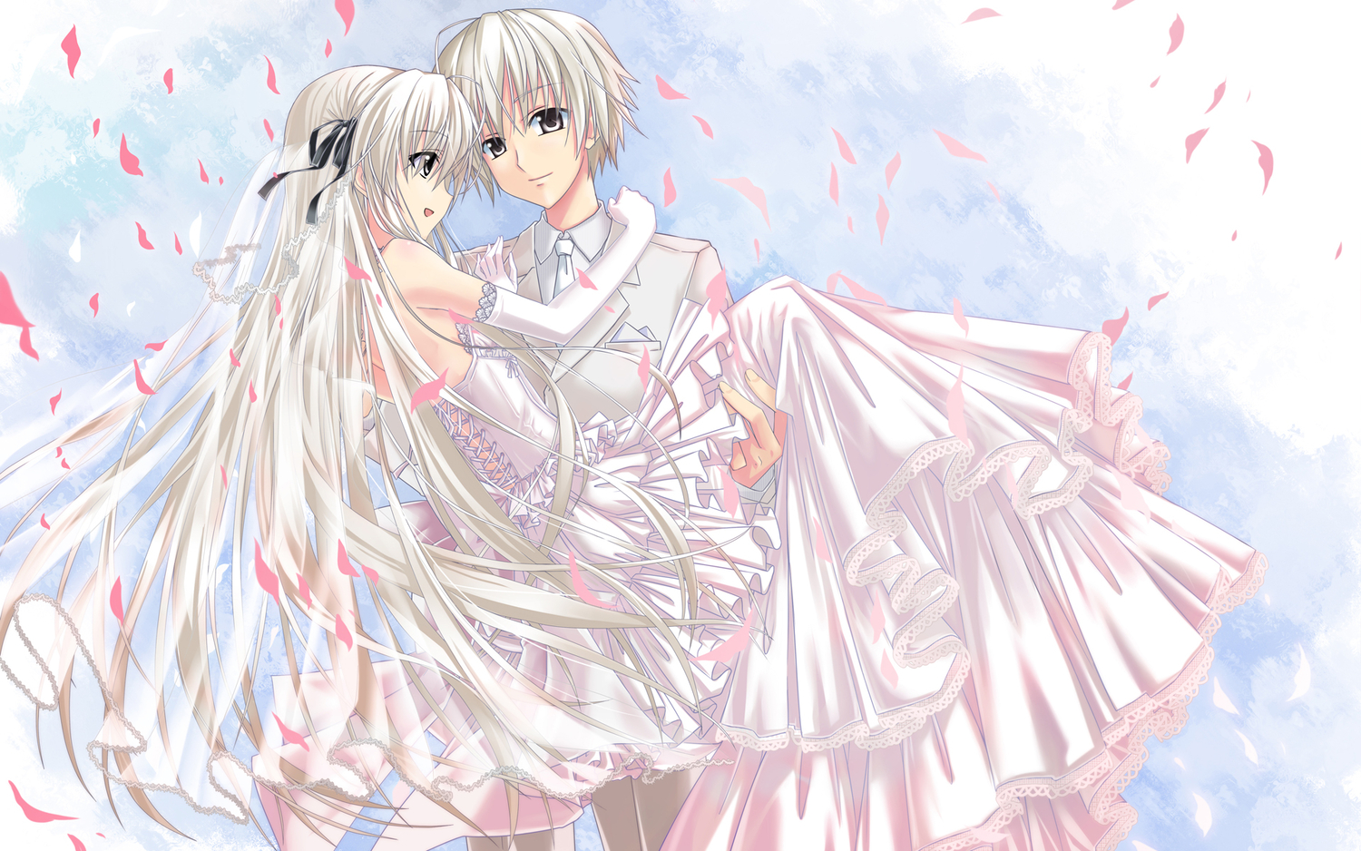 dress gloves gray_eyes gray_hair hika_(cross-angel) kasugano_haruka kasugano_sora long_hair male short_hair suit wedding wedding_attire white_hair yosuga_no_sora