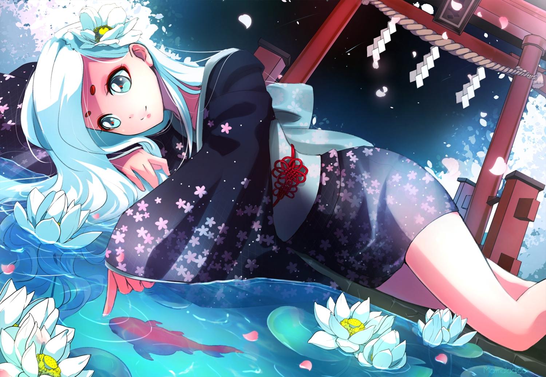 animal fish flowers japanese_clothes long_hair marmalade_(elfless_vanilla) torii water watermark white_hair yukata