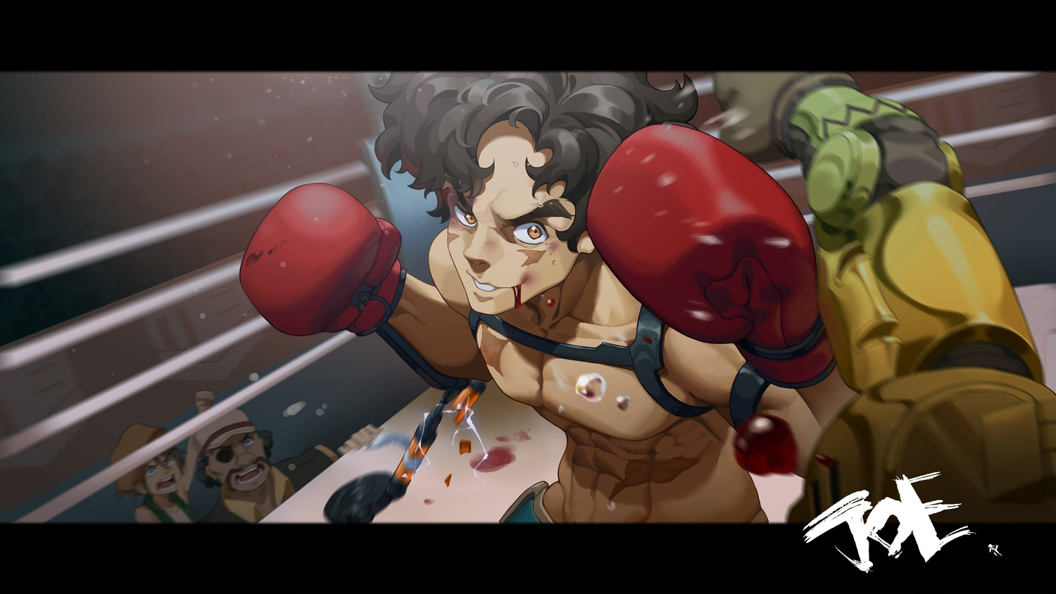 all_male black_hair blood brown_eyes cheese_kang eyepatch gloves joe_(megalo_box) male megalo_box nanbu_(megalo_box) sachio_(megalo_box) scar
