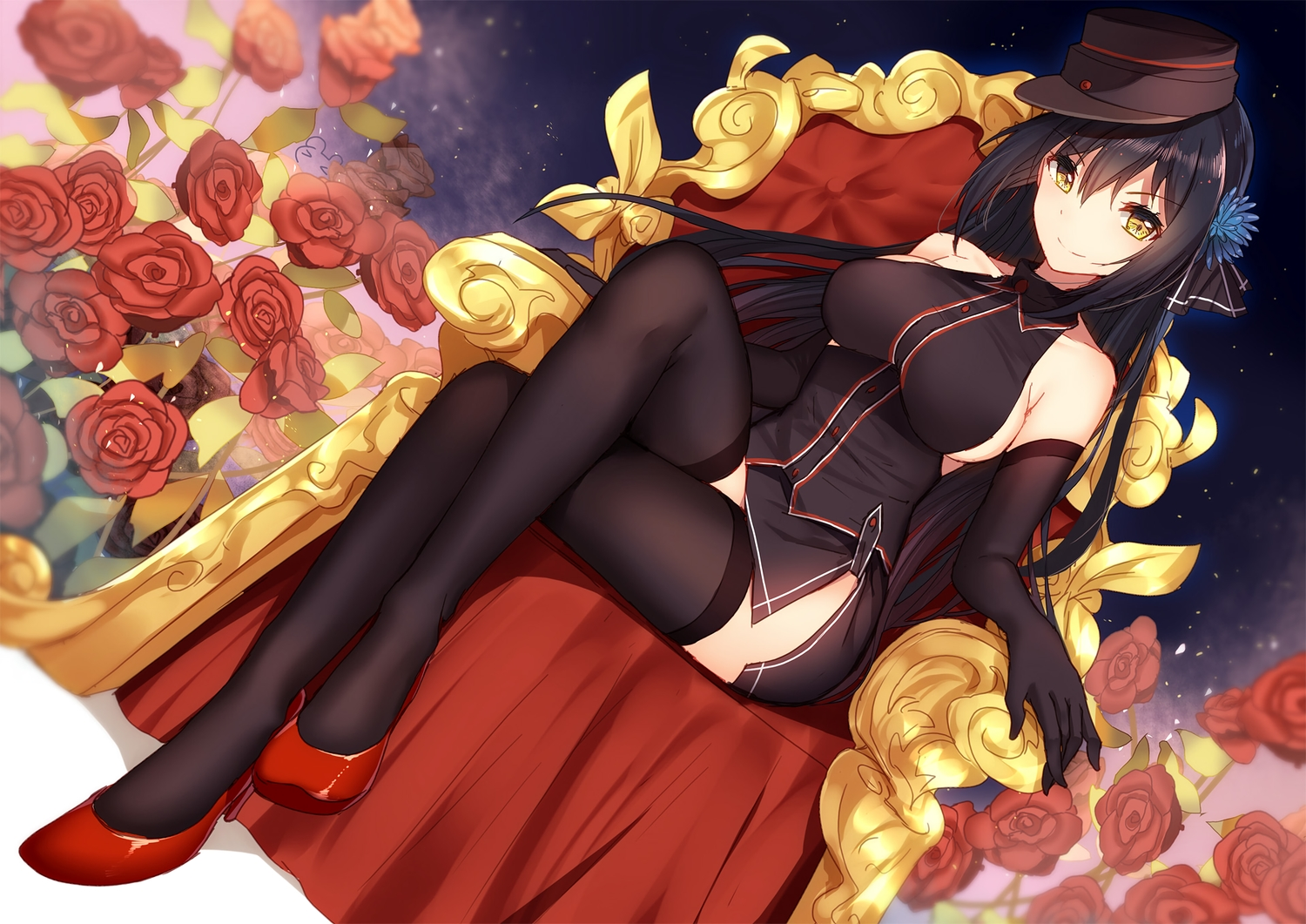 bisonbison black_hair breasts elbow_gloves flowers gloves hat long_hair no_bra panzer_waltz thighhighs yellow_eyes