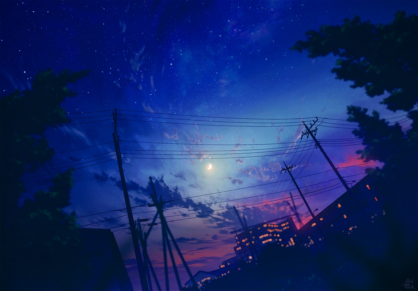 building city clouds mocha_(cotton) moon night nobody original polychromatic signed silhouette sky stars sunset tree