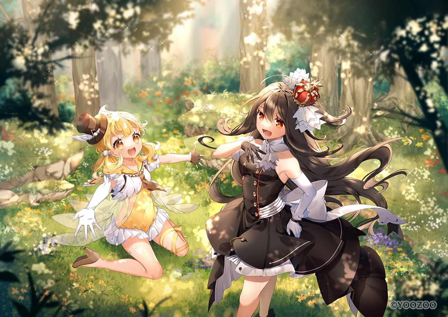 2girls dress elbow_gloves flowers forest gloves grass loli long_hair red:_pride_of_eden sumomo_kaze tagme_(character) tree twintails waifu2x