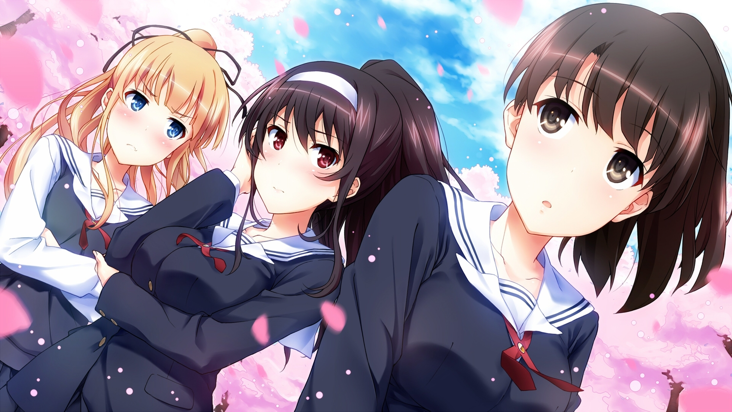 black_hair blonde_hair blush brown_eyes brown_hair cherry_blossoms flowers headband kasumigaoka_utaha katou_megumi long_hair petals ponytail red_eyes saenai_heroine_no_sodatekata sakura_(k_tonpu) sawamura_spencer_eriri school_uniform short_hair
