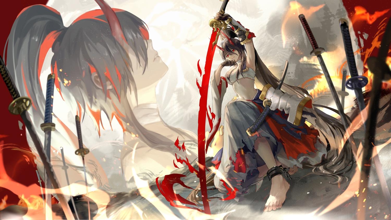 achyue armor black_hair chain elbow_gloves gloves horns katana long_hair original pixiv_fantasia ponytail red_eyes samurai sarashi sword underwear weapon
