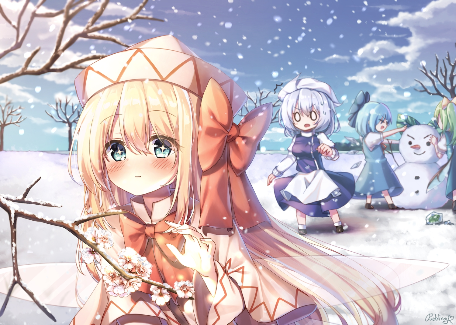 blonde_hair blue_hair blush bow cirno clouds daiyousei fairy flowers green_eyes group hat letty_whiterock lily_white long_hair pudding_(skymint_028) short_hair sky snow touhou