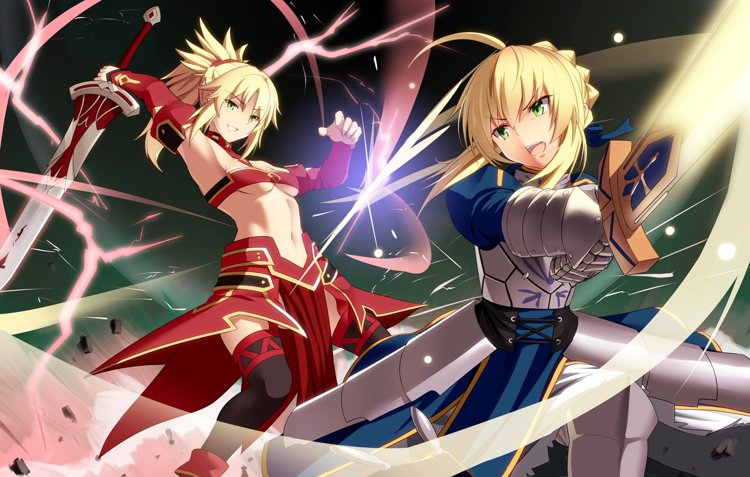 2girls armor artoria_pendragon_(all) blonde_hair fate/grand_order fate_(series) fate/stay_night green_eyes hirame_sa long_hair magic mordred navel ponytail saber sword thighhighs underboob weapon